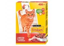Cухой корм Friskies для взрослых кошек с мясом, курицей и печенью