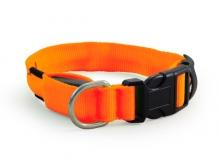 Ошейник светодиодный неоновый оранжевый, 25*310-410мм