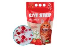 """Наполнитель для кошачьих туалетов Cat Step """"Клубника"""" 3,8л, силикагелевый впитывающий"""