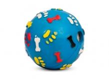"""Игрушка для собак из цельнолитой резины """"Мяч с лапками и косточками со звуком"""", d75мм"""