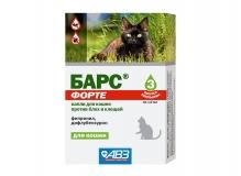 Барс ФОРТЕ капли для кошек против блох и клещей, 1 пип