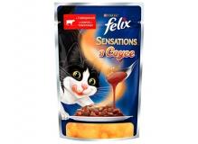 Felix Sensations в желе.Корм для взрослых кошек, с говядиной в желе с томатами