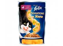 Felix Sensations в желе.Корм для взрослых кошек, с уткой в желе со шпинатом.
