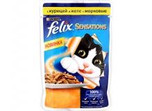 Felix Sensations в желе для взрослых кошек с курицей в желе с морковью.